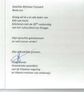 Briefje Hilde Crevits, viceminister-president van de Vlaamse Regering
